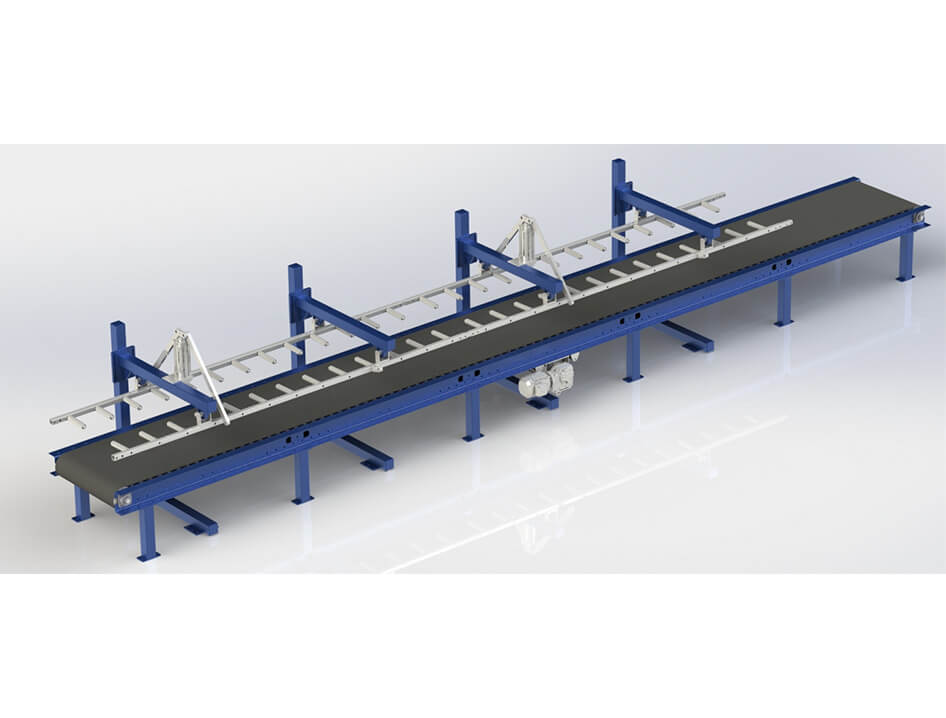 3d render of inline conveyor under drop stacker