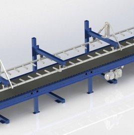 inline conveyor under dropstacker
