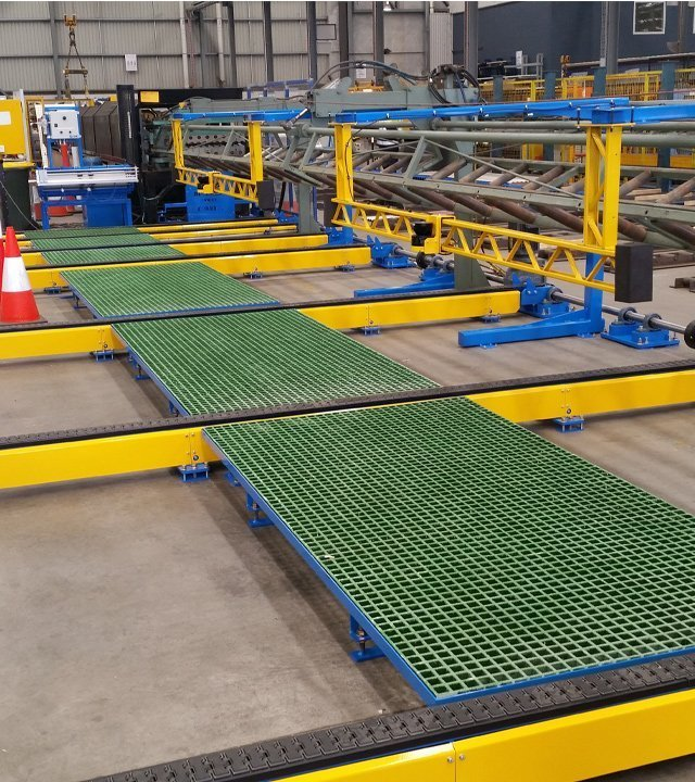 side shift conveyor system installed